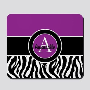 Purple Zebra Monogram Personalized Mousepad